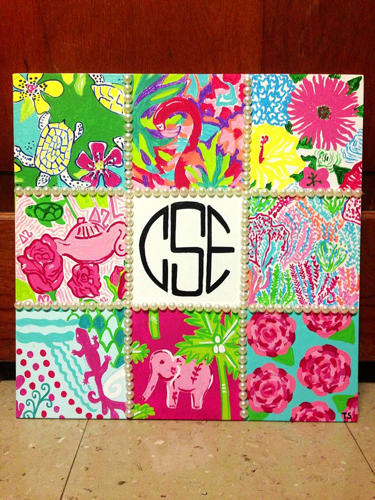 Lilly pulitzer painted canvas. DIY. Pearls and monogram. By Taylor Storrer