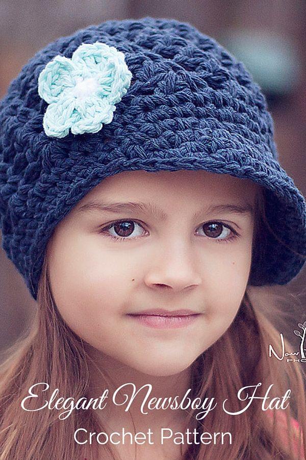 Crochet Pattern - an elegant newsboy hat that features a pretty shell stitch design and cute crochet flower. By Posh Patterns. Made with @yarnspirations Lily Sugar N Cream Yarn.