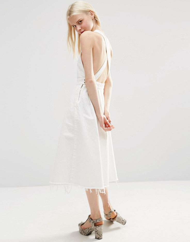 Image 1 of ASOS Denim Cross Back Midi Dress In Off White With Raw Hem