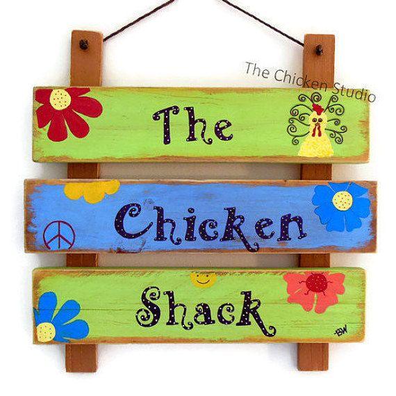 Hippie Sign The Chicken Shack Chicken Coop by TheChickenStudio