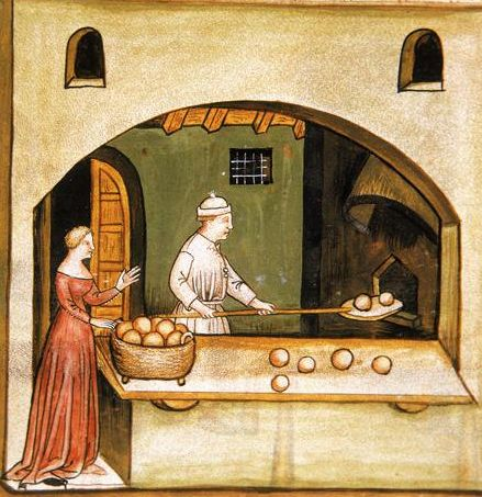 """Cooks and Cooking BAKING - from The Tacuinum Sanitas , Late 14th century.  (TAG: LINK=>BLOG PAGE TITLED """"MEDIEVAL TRADES AND CRAFTS"""" W/MANY MORE IMAGES; PUBLIC DOMAIN)"""