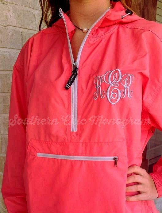 Personalized Monogrammed Charles River Pack-N-Go light weight rain jacket windbreaker Bridesmaid Gift Graduation gift greek sorority by SouthernChicMonogram on Etsy