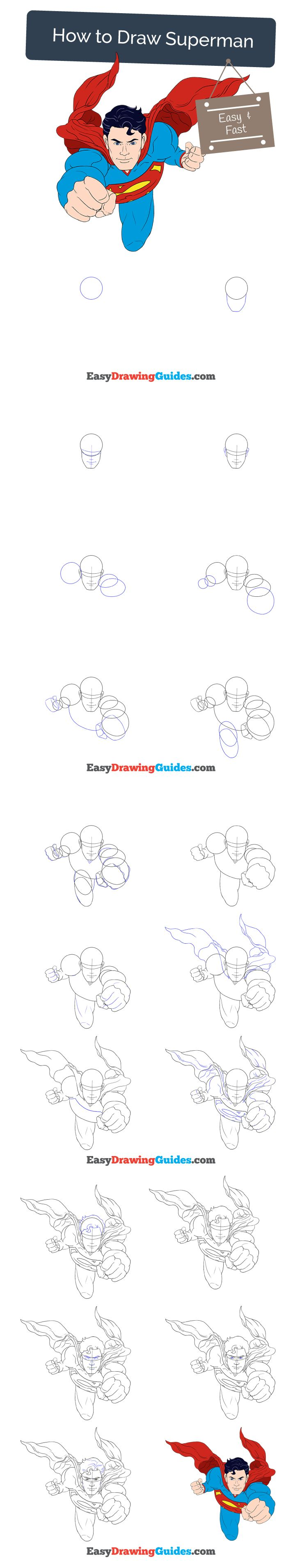 Learn How to Draw Superman: Easy Step-by-Step Drawing Tutorial for Kids and Beginners. #superman #drawing. See the full tutorial at https://easydrawingguides.com/how-to-draw-superman/