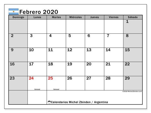 Calendario Febrero 2020 Para Imprimir Pdf.Calendario Febrero 2020 Argentina Numeros Calendario