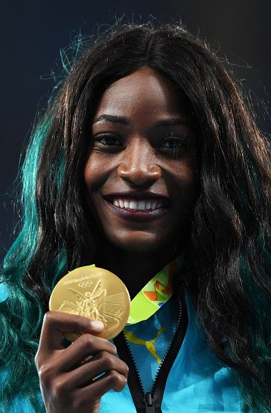 Gold medalist Shaunae Miller of the Bahamas poses during the medal ceremony for…
