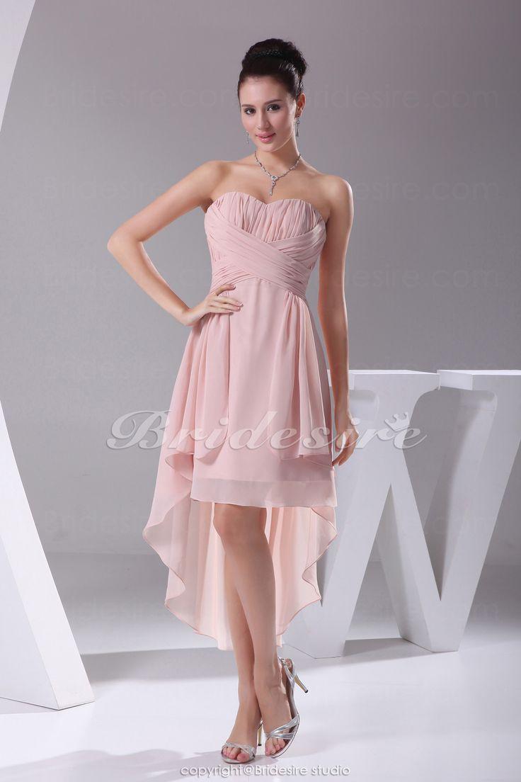 Bridesire - A-Lijn Liefje Asymmetrisch Knielengte Mouwloos Chiffon Kleding [BD4159] - €83.56 : Bridesire