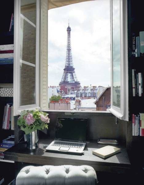 perfect writing spotDreams Home, Eiffel Towers, Offices Spaces, Paris Apartments, The View, Places, Home Offices, Windows View, The Roller Coasters