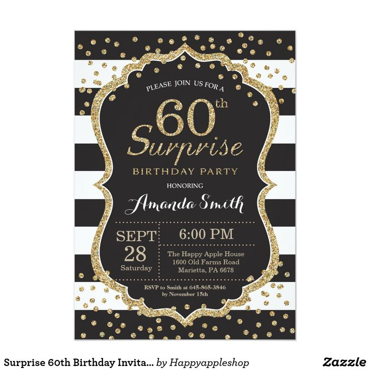 """Surprise 60th Birthday Invitation. Gold Glitter Card Surprise 60th Birthday Invitation for women or man. Black and Gold Birthday Party Invite. Gold Glitter Confetti. Black and White Stripes. Printable Digital. For further customization, please click the """"Customize it"""" button and use our design tool to modify this template."""