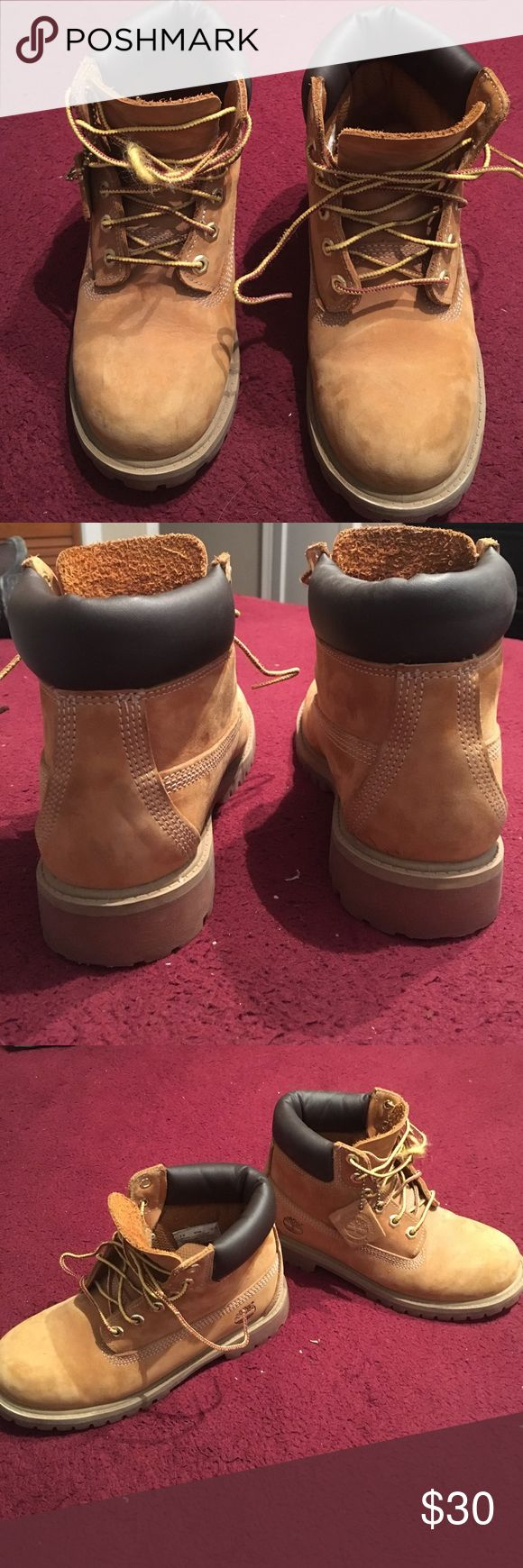 Boys Timberland Boots Great condition! Worn a couple of times. No major scuffs/scratches. Shoe lace is a bit messed up but still intact. Boots are chestnut color and suede leather. Sold as is condition. Timberland Shoes Boots