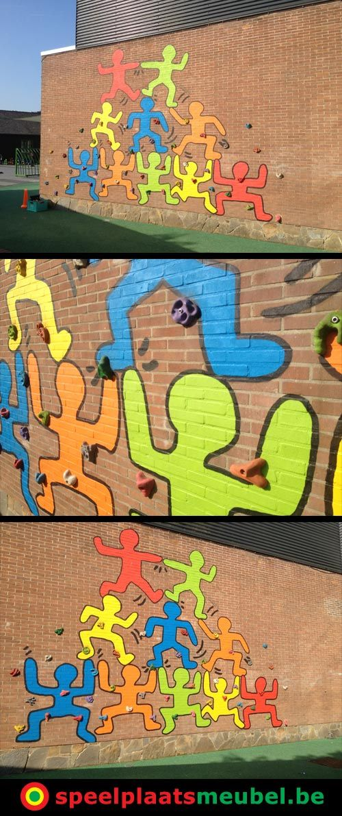 Leuk idee ivm een muurschildering op het schoolplein bij de Zonnetuin in Sint-Kruis (bij Brugge). Gecombineerd met klimgrepen via speelplaatsmeubel.