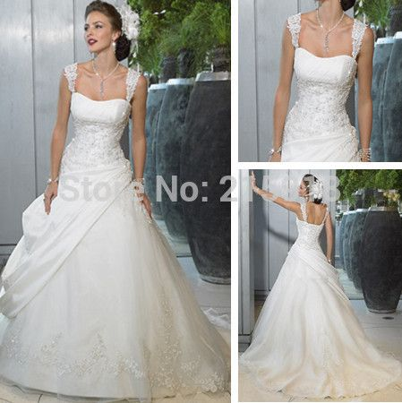 Elegant Cap Sleeve Square Wedding Dress for Bridal Gown A-line Dresses to wear to a wedding
