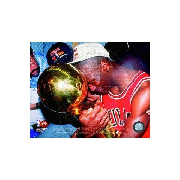 Michael Jordan Game 5 of the 1991 NBA Finals with Championship Trophy... ($18) ❤ liked on Polyvore featuring home and home decor