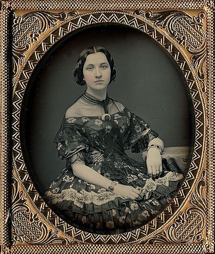 ::::::::: Antique Photograph :::::::::  Daguerreotype of stunning woman in an amazing dress. It's amazing how clear and bright this portrait is too.