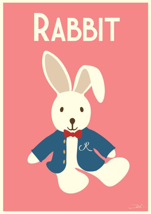 #rabbit #pinkrabbit #cute #artforgirls #pretty #vintageart #vintageposters #posterart #poster #art #childrensart #vintage #design #illustration #alanwalsh #alanwalshart