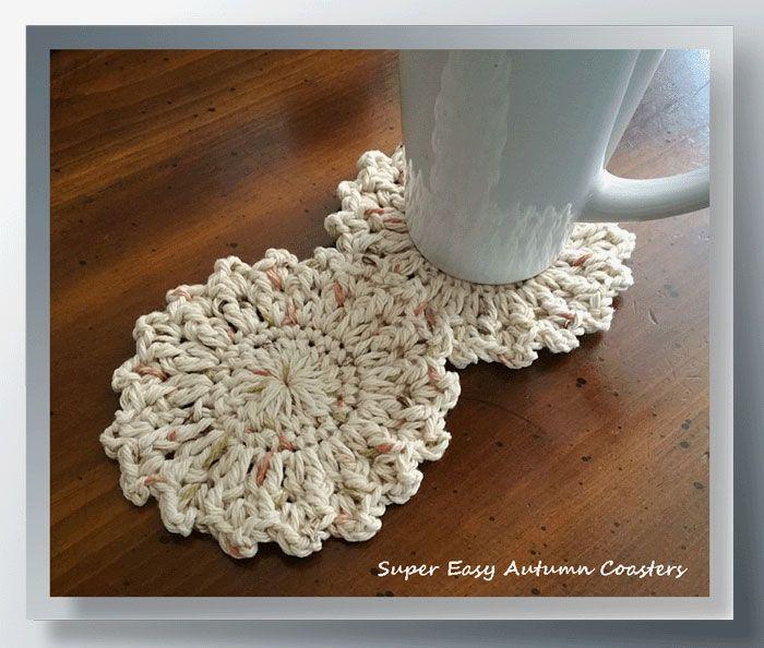 Super Easy Autumn Coasters - http://www.crochetmemories.com/blog/super-easy-autumn-coasters/