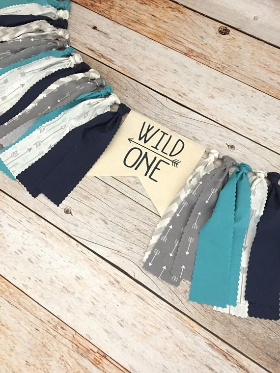 Blue and Gray Wild One Birthday Highchair Banner (Made to Match), First Birthday Boy, Boy Nursery Decor, Boy Birthday Banner
