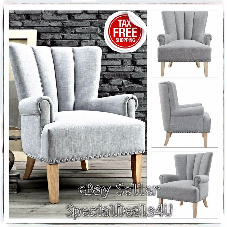 Modern Accent Chair Home Upholstery Seat Living Room Furniture Grey Vintage Arm #SD4UChairs #Modern