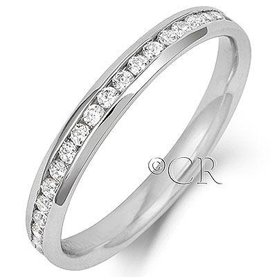 Platinum 2.2mm 1/2 Channel Set Diamond Ring - Coolrocks