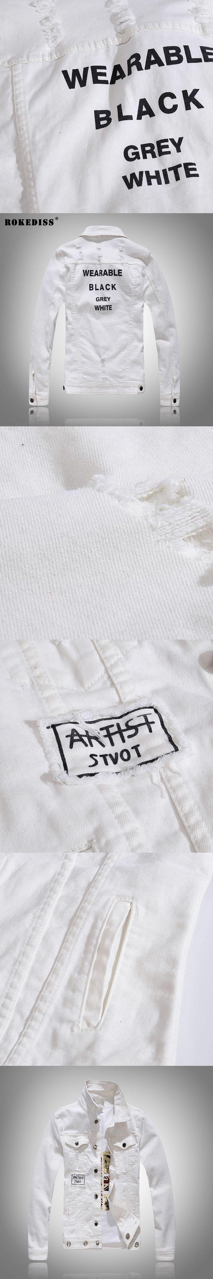 ROKEDISS Top Quality streetwear printing Denim Jackets Men Hip Hop Clothing Jeans Jackets fashion Men's denim jacket W060