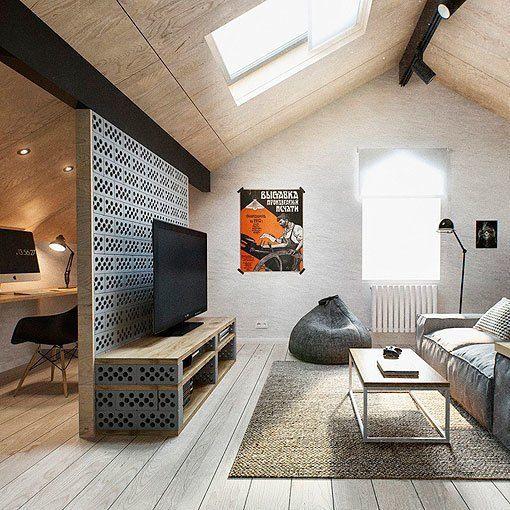 mueble de televisor y división de ambientes de bloques de cemento