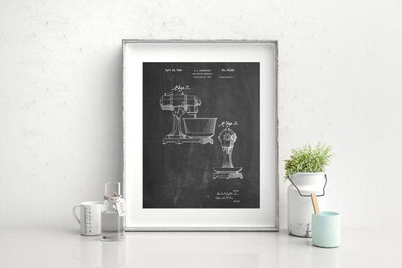 Kitchen Mixer Patent Poster, Culinary Gift, Bakery Decor, Vintage Mixer, Baking Tools, Kitchen Wall Art, PP0337