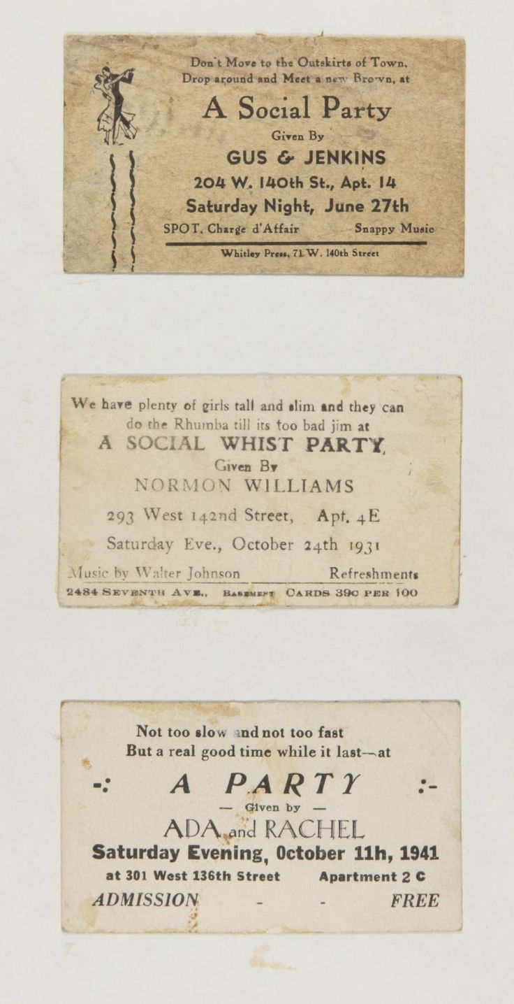 Langston Hughes' collection of Rent Party Cards. Poetry in motion. Rent parties are exactly what the name implies -- social events to raise money for the rent. They featured live music, food (for an added fee), dancing, and other *social* activities. A fascinating piece of history currently on display at Yale's Beinecke Rare Book and Manuscript Library.