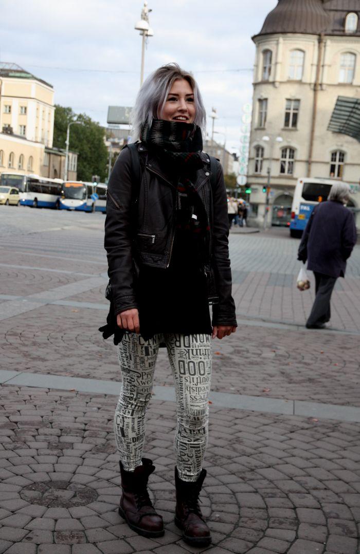 Trelooks - Street style from Tampere, Finland  www.trelooks.blogspot.com  // Keywords: women, ootd, street style, leather jacket, punk style, rock style, lila hair, purple hair