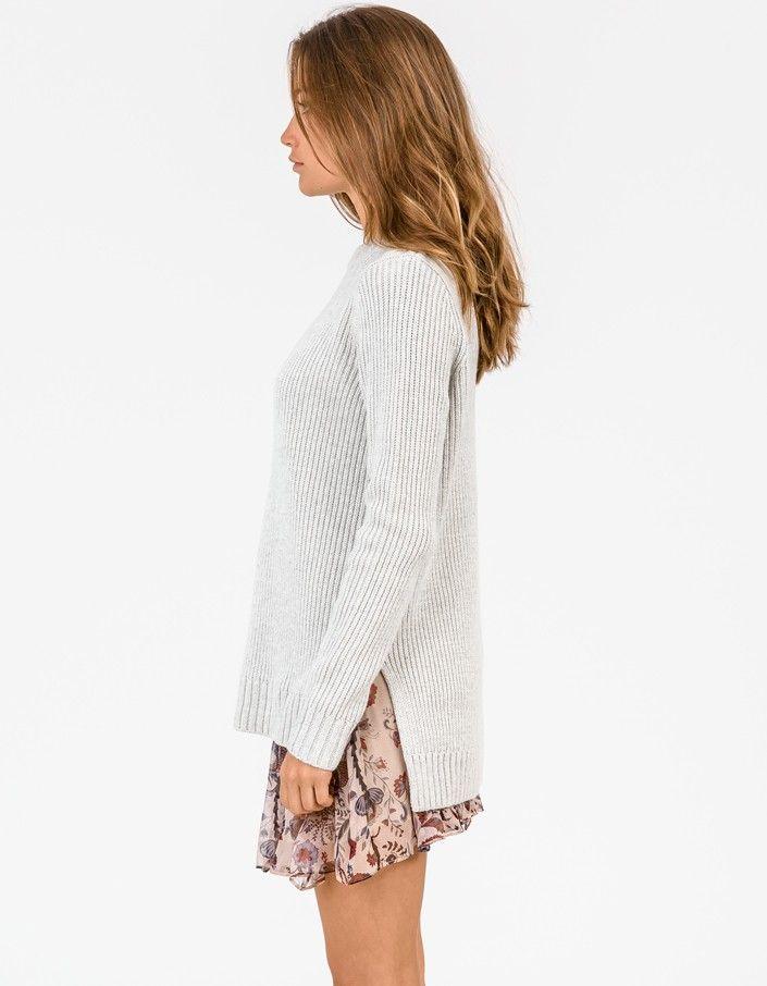 Henley Crew Neck Sweater - Grey Melange  - Superette | Your Fashion Destination.