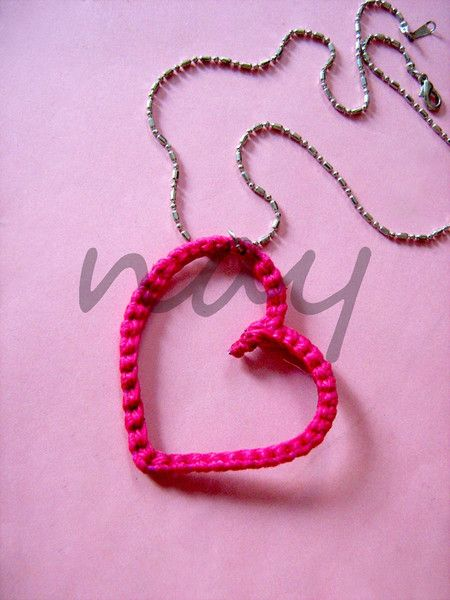Handmade crochet on wire metal heart necklace NK17 from nay handmade - unique handcrafted accessories by DaWanda.com
