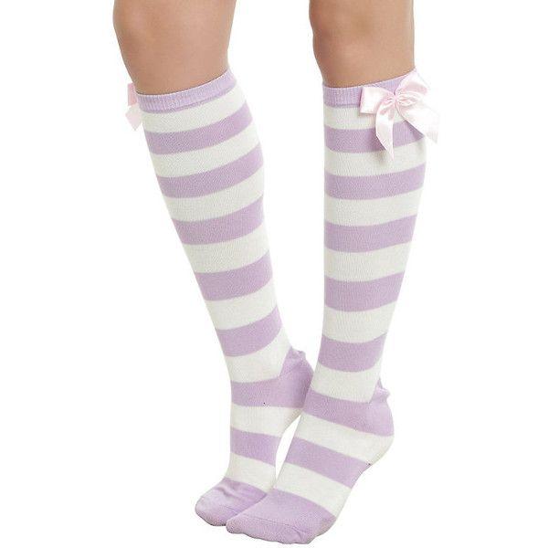 Blackheart Lavender Cream Stripe Knee Socks Hot Topic ($7.12) ❤ liked on Polyvore featuring intimates, hosiery, socks, knee hi socks, stripe socks, striped knee socks, knee high socks and cream socks