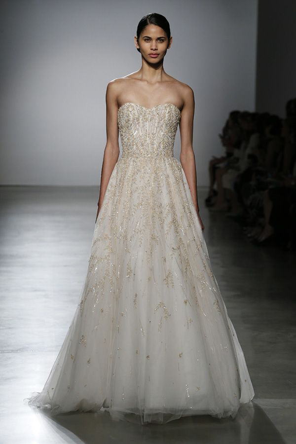 Darling Sweetheart Evening Gown with Bedazzled Sequencing | http://brideandbreakfast.ph/2015/08/28/amsale-bridal-spring-2016/ | Designer: Amsale