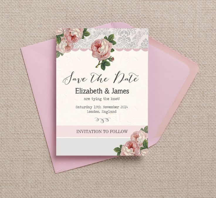 design printable invitation cards online free%0A Gorgeous vintage rose theme Save the Dates with a soft blush pink and dove  grey colour