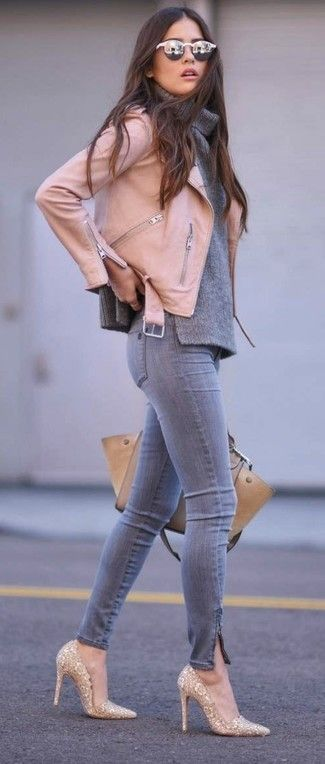 Womens Pink Leather Biker Jacket, Grey Cowl-neck Sweater, Grey Skinny Jeans, Gold Sequin Pumps