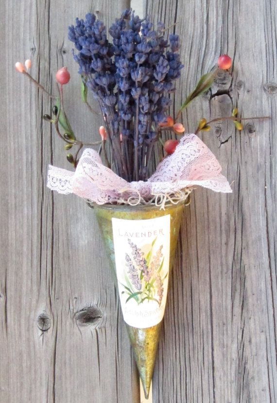wall pocket cone french lavender door wreath