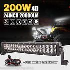 4D Cree 24inch 200W Curved LED Work Light Bar Spot Flood Combo 4WD Boat Offroad