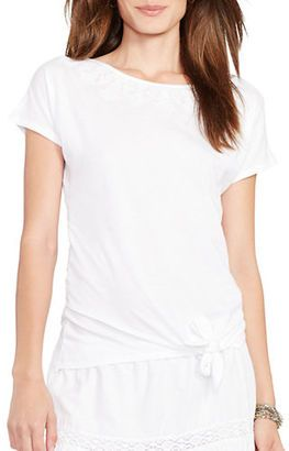 Lauren Ralph Lauren Tied-Hem T-Shirt - Shop for women's T-shirt - White T-shirt