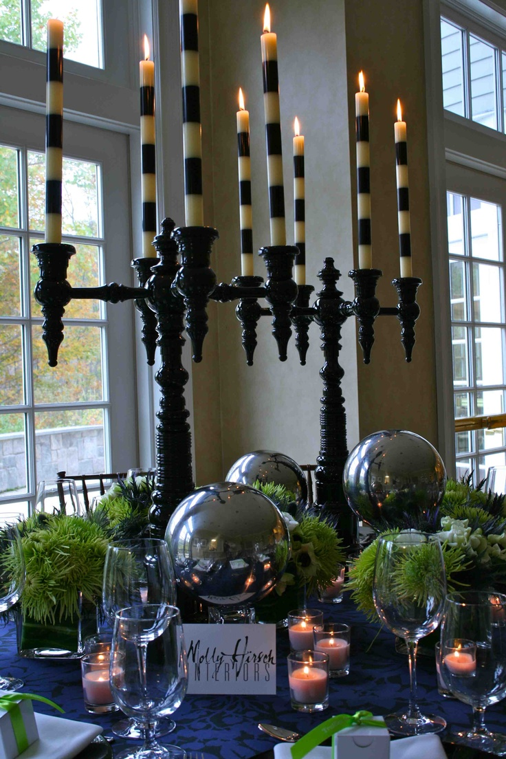 Molly Hirsch Interiors' table -- candelabras from Dunes and Duchess