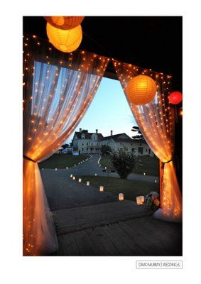 twinkly: Farms Wedding, David Murray, Twinkle Lights Curtains, Wedding Journals, Christmas Lights, Outdoor Spaces, Twink Lights Wedding, Twinkle Lights Parties, Laudholm Farms