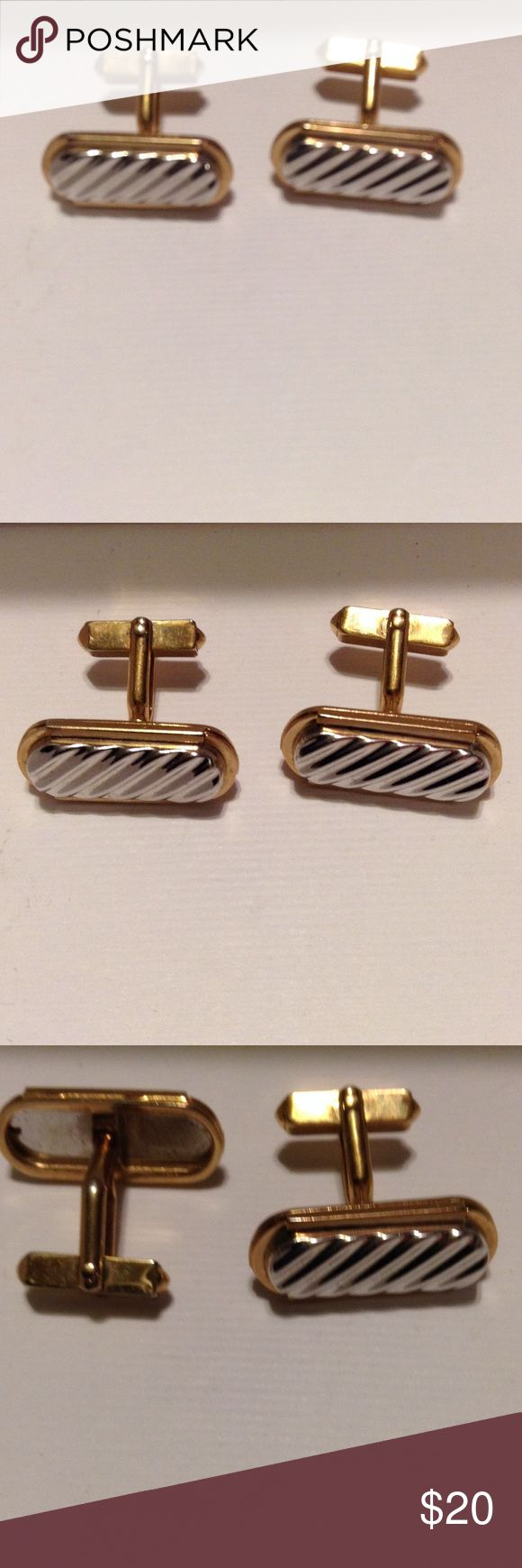 Two tone cufflinks unsigned Vintage cufflinks silver and gold tone bar with stylish ridge design. Has vintage wear. Accessories Cuff Links