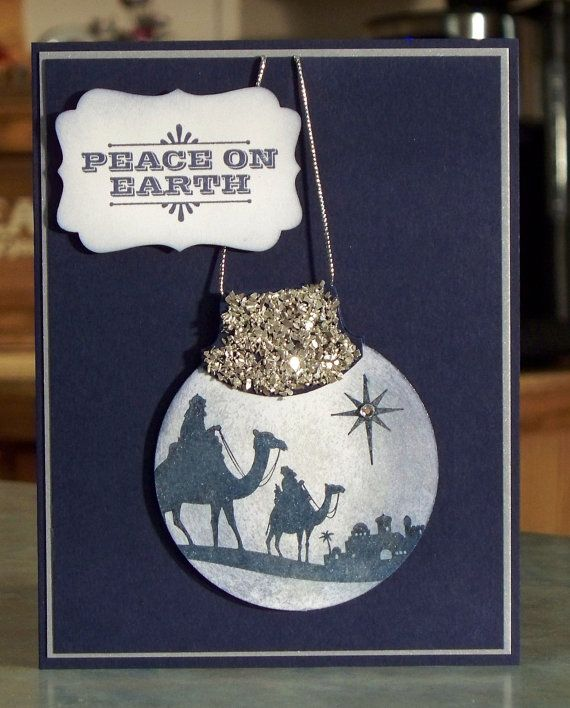 Handmade Christmas Card - Stampin Up MERRY & TYPE - Ornament Shape