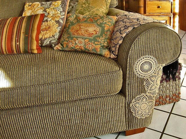 such a cool idea! Since our cat has already destroyed ours. - home sofa repair (doilies are so cute!)