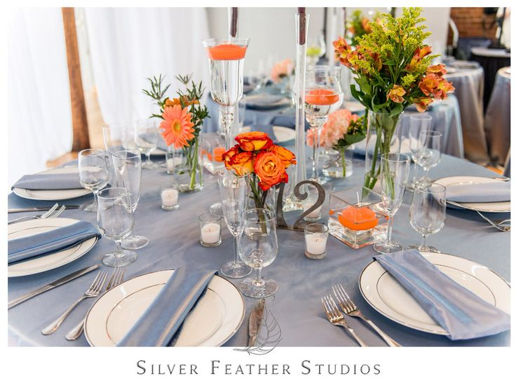 59 best blue and orange wedding images on pinterest weddings beautiful coral and blue decor with metal table numbers by fleurtations weddings and events in raleigh nc junglespirit Gallery