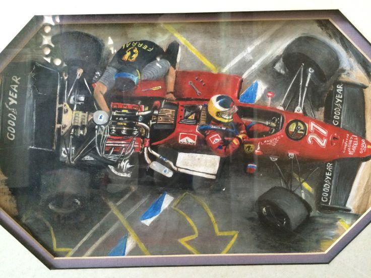 Michele Alboreto, Ferrari 156, Italian Grand Prix, Monza 1985. Montage creation. Oil on board and paper. Very fragile