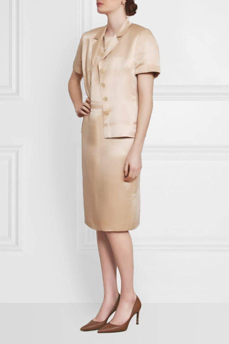 80'ler Les Copains İpek Elbise Üzeri Ceket Vintage Takım - AUVINTAGE