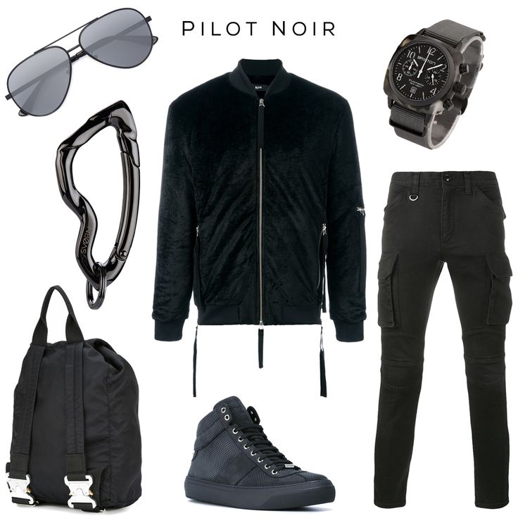 Pilot Noir - Sky-high Fashion Aesthetics // Clockwise: Sunglasses by Saint Laurent, Bomber jacket by Blood Brother, Watch by Briston, Cargo pants by Sophnet., Sneakers by Jimmy Choo, Backpack by Alyx, Carabiner by @svorndesign // #menswear #streetfashion #luxurymens #streetluxury #totalblack #allblack #mensstyle #saintlaurent #mensaccessories #mensfashion #pilot #blackstyle