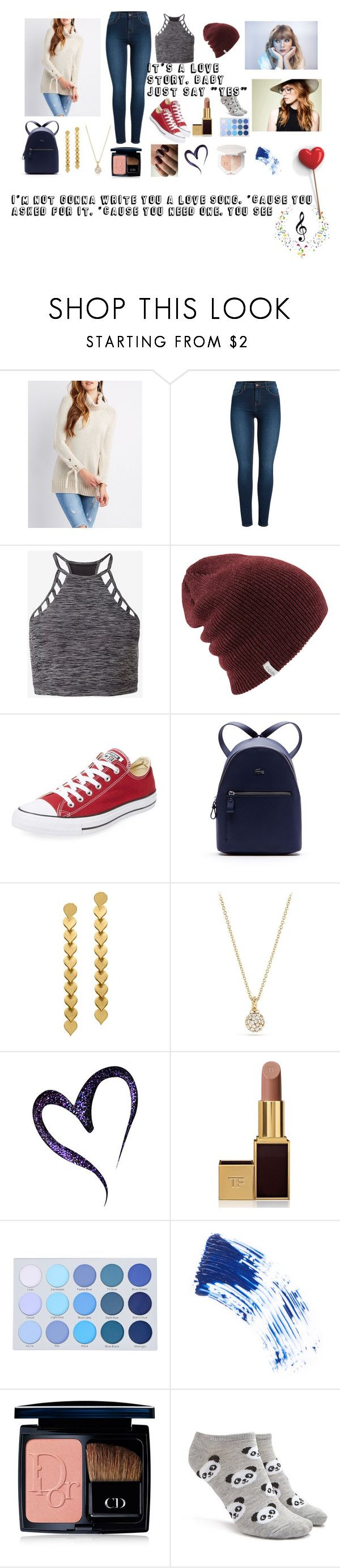 """""""Love Song: Taylor Swift, Ingrid Michaelson mashup"""" by lcampbell12 on Polyvore featuring Charlotte Russe, Pieces, Express, Converse, Lacoste, David Yurman, Tom Ford, NARS Cosmetics, Christian Dior and Forever 21"""