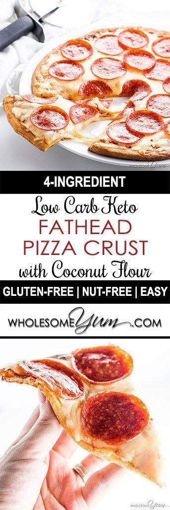Fathead Pizza Crust (Low Carb, Keto, Gluten-free, Nut-free) – 4 Ingredients - This low carb keto Fathead pizza crust recipe with coconut flour is so easy with only 4 ingredients! It's nut-free and gluten-free, too.