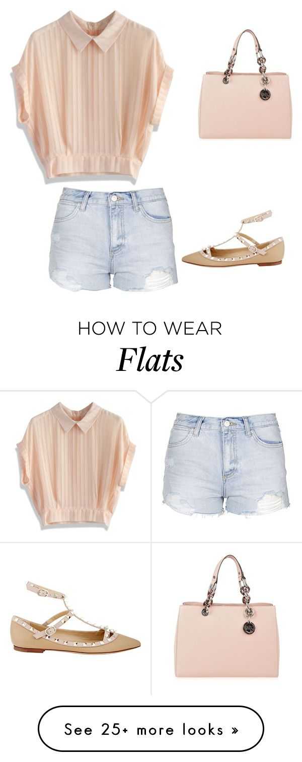 """""""Spiked Flats"""" by momo-free on Polyvore featuring MICHAEL Michael Kors, Chicwish, Topshop, Valentino, women's clothing, women, female, woman, misses and juniors"""