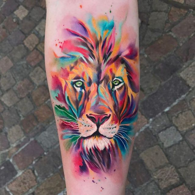 50 Eye Catching Lion Tattoos That Ll Make You Want To Get Inked Watercolor Lion Tattoo Watercolor Lion Lion Tattoo