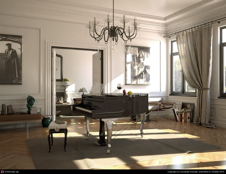 Piano room love the chandelier music pinterest for How to place a piano in a room